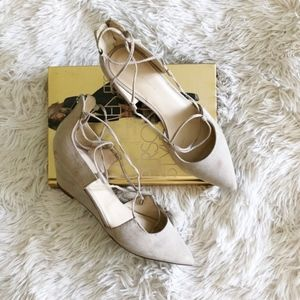 MARC FISHER beige lace-up wedge faux suede heels